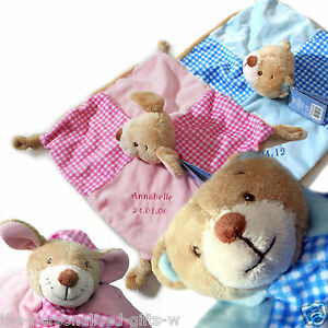 0a3854c6e7204 Details about Personalised Baby Teddy Comforter Blankie Bear Comfort  Blanket PINK or BLUE soft