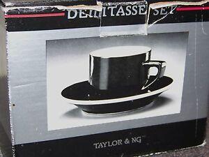1990 TAYLOR & NG DEMITASSE SET of 4 Cups and Saucers Black ...