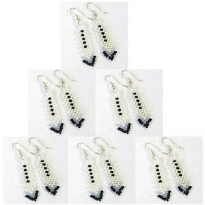 NATIVE-STYLE-HANDMADE-SMALL-WHITE-BEADED-HOOK-EARRINGS-LOT-6-PAIRS