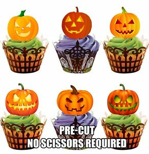 PRE-CUT-Glowing-Pumpkins-Mix-Edible-Cupcake-Toppers-Decorations-Halloween-Party