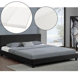 Polsterbett-Doppelbett-140-x-200-cm-Kunstlederbett-Bettgestell-mit-Matratze-Neu