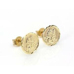 9ct-Gold-Diamond-Cut-St-Christopher-Medal-Stud-Earrings-Studs-Earring