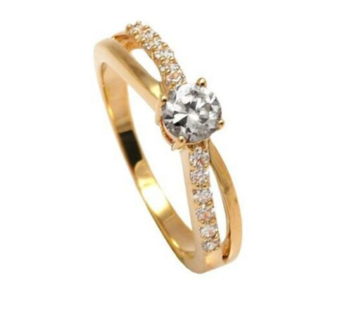 New 18ct Gold Filled Engagement Ring with  Clear Gemstone 216