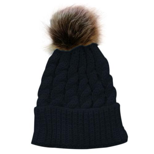 Kinder Baby Strickmütze häkeln Winter Beanie Mütze Hairball Strickmütze