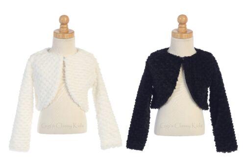 New Flower Girl Faux Fur Bolero Jacket Wedding Sweater Christmas Winter 1109