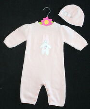NWOT Janie & Jack Snow Bunny Peach Sweater Romper Outfit Hat Beret Girl 0-3 M