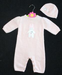 3839e00c7d8e NWOT Janie   Jack Snow Bunny Peach Sweater Romper Outfit Hat Beret ...