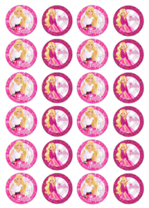 Image Is Loading 24 X Large Barbie Edible Cupcake Toppers Birthday
