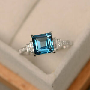 1.95 Ct Topaz Princess Diamond Engagement Ring Solid 925 Sterling Silver Size 8