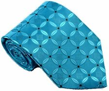 New Classic Pattern Turquoise Black Dots JACQUARD WOVEN Silk Men's Tie Necktie