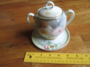 VINTAGE-PRUSSIA-LIDDED-SUGAR-BOWL-REPAIRED-amp-DISH-CHIKARAMACHI-JAPAN-GOOD-CND