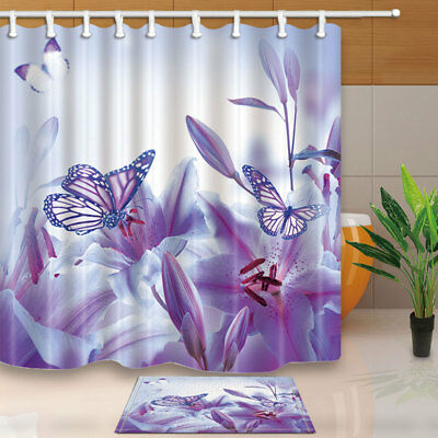 Spring Purple Flowers Butterfly Flying on Lilies Bathroom Shower Curtain 71Inch