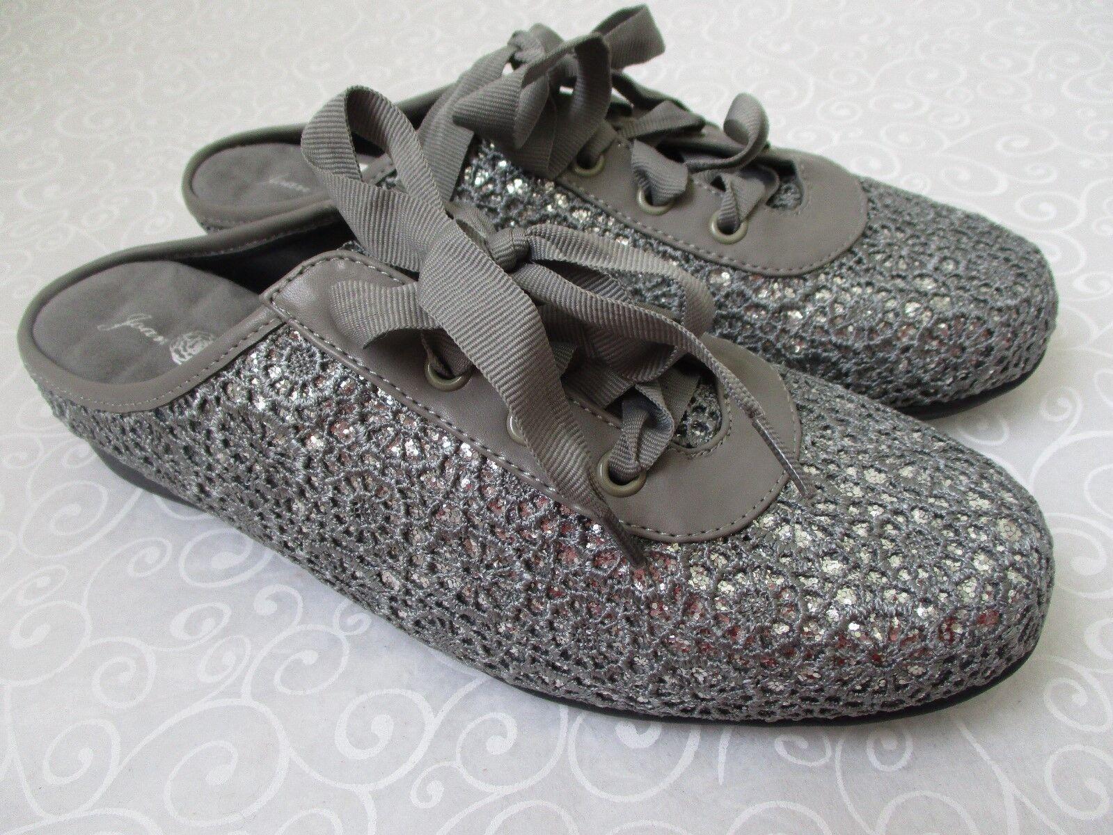 JOAN BOYCE GRAY LACE UP & SILVER GLITTER FLATS Schuhe SIZE 9 1/2 W - NEU