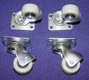 4 Kleine Möbelrollen Lenkrollen für Parkett, Laminat Ø 30mm Platte