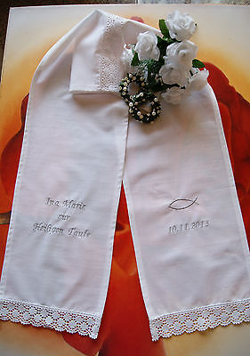 Taufschal mit Stickerei und Spitze aus Baumwolle inkl Name Taufdatum*Taufkleid