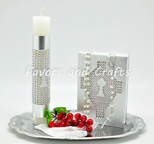 Silver-First-Communion-Candle-Set-Spanish-Boys-Girls-Gift-Vela-Primera-Comunion