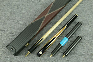 Grand-Cues-57-034-3-4-Piece-Black-Ebony-Maple-Burl-Snooker-Pool-Cue-Set-YP49