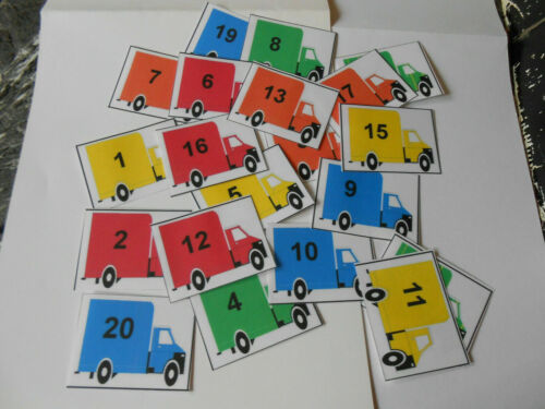 1-20 LORRIES COUNTING GAME AUTISM,SPECIAL NEEDS