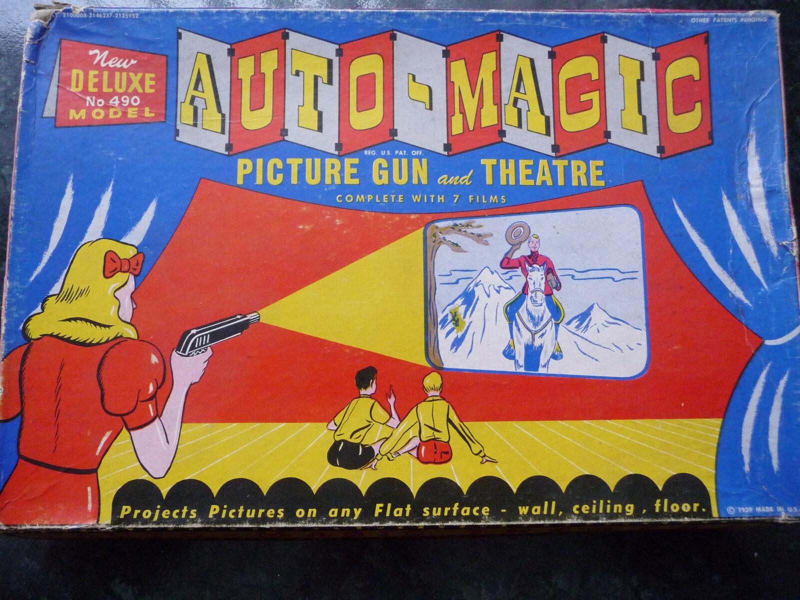 RARE Auto-Magic Picture Gun & Theatre toy set; 1939 Original Deluxe 490 Model