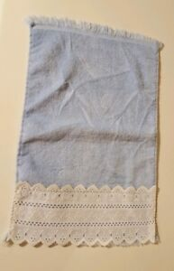 Fieldcrest Lustre Hand Towel Blue With White Lace All