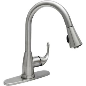 Glacier Bay Market Single Handle Pull Down Sprayer Kitchen Faucet In Stainless 6925699950259 Ebay