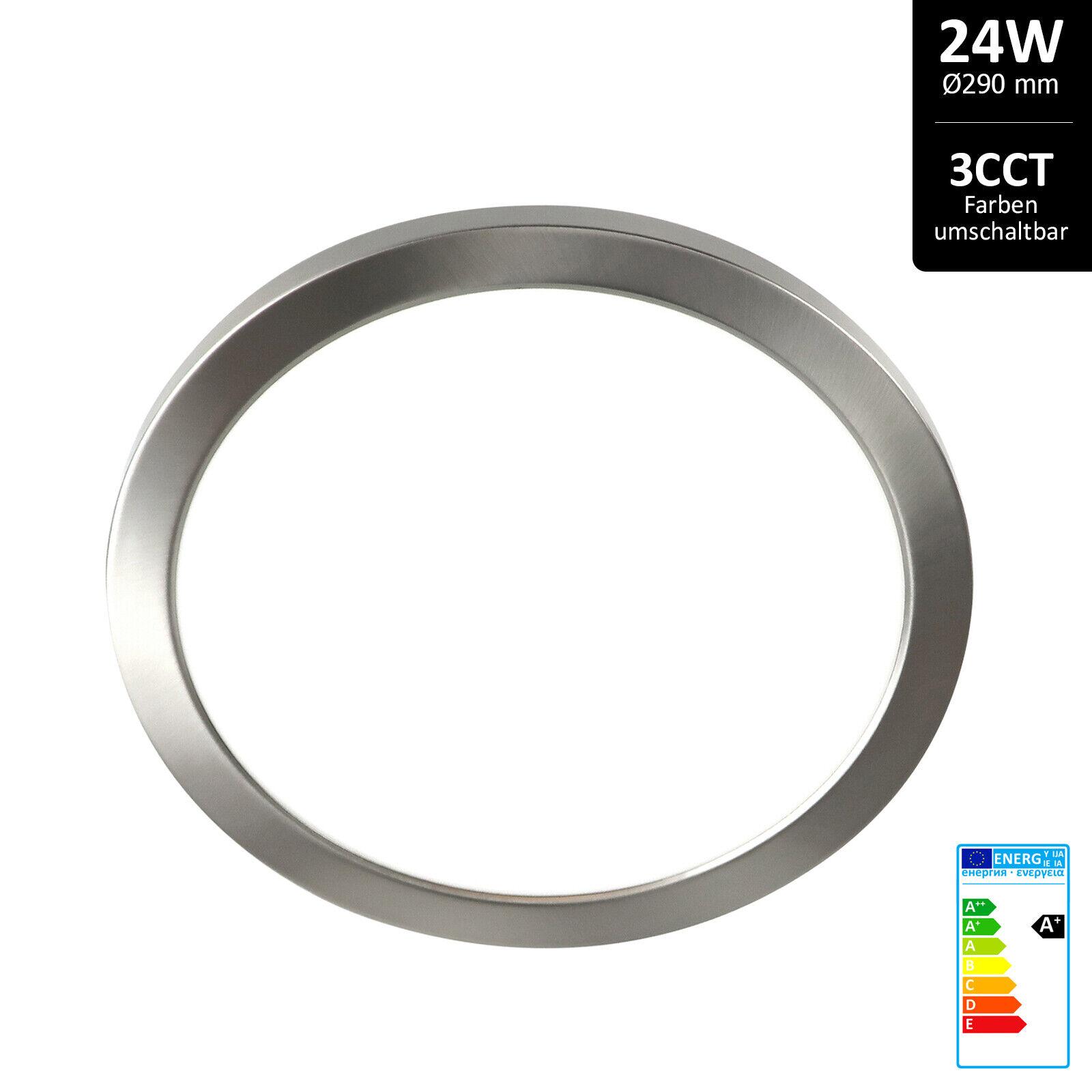 LED Deckenlampe dimmbar rund 24W Farben umschaltbar mit Farbring Nickel matt