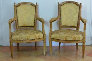 Paire De Fauteuils Parisiens Ancien D Epoque Louis Xvi A Plumets Soie Furniture Ebay