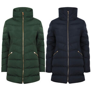 Tokyo-Laundry-Women-039-s-Shiso-Funnel-Neck-Padded-Quilted-Puffer-Coat-Longline