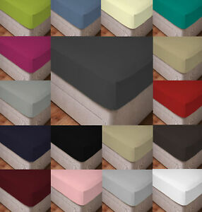 """100% Poly Cotton 40CM/16"""" Extra Deep Fitted Bed Sheets Percale Sheets All Sizes"""