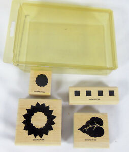Lot-of-4-Flower-Theme-Design-Rubber-Stamp-Wooden-Mounted-BY-Stamp-in-Up