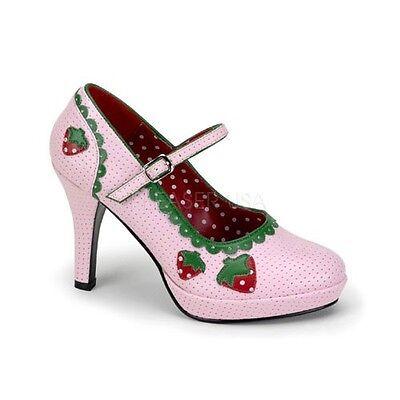 "Cute Pleaser 4"" Heel Pink Strawberry Shortcake Maryjane Pumps Anime Lolita 6-12"