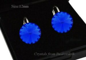 925-Sterling-Silver-Earrings-Majestic-Blue-12-Rivoli-Crystals-from-Swarovski