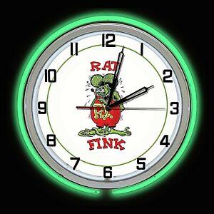 "Rat Fink Rat Rod 19/"" Double Green Neon Clock Man Cave Bar Garage White Sign"