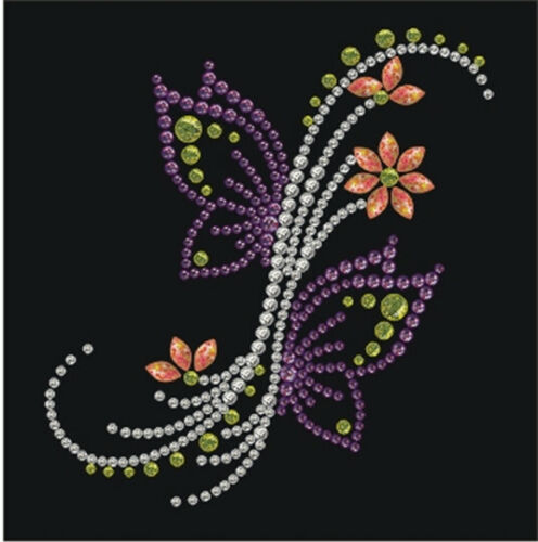 Transfert thermocollant clou et strass Fleurs Papillons Ki-Sign
