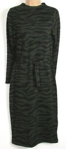 New-marks-amp-Spencer-Green-Black-animal-print-Belted-Midi-Shift-Dress-8-22