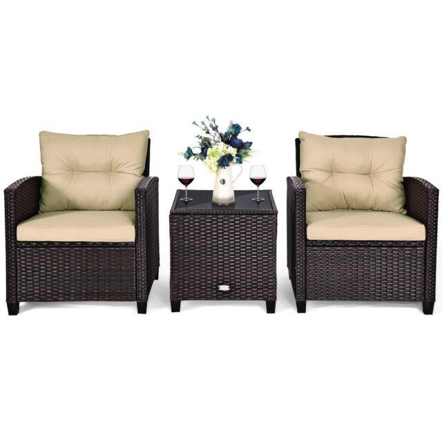 3 PCS Patio Rattan Furniture Set Conversation Set ...