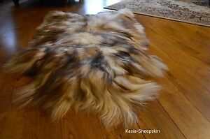 Genuine Icelandic White-Brown Sheepskin Rug Real Fur Lambskin pelt