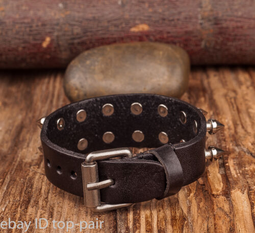 Men/'s Goth PUNK Metal Stud Spike Rivet Leather Bangle Cuff Bracelet Wristband
