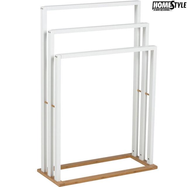 Porta Asciugamani Per Bagno In Legno.Porta Asciugamani Da Terra 3 Supporti Mdf Homestyle 55x24x82cm