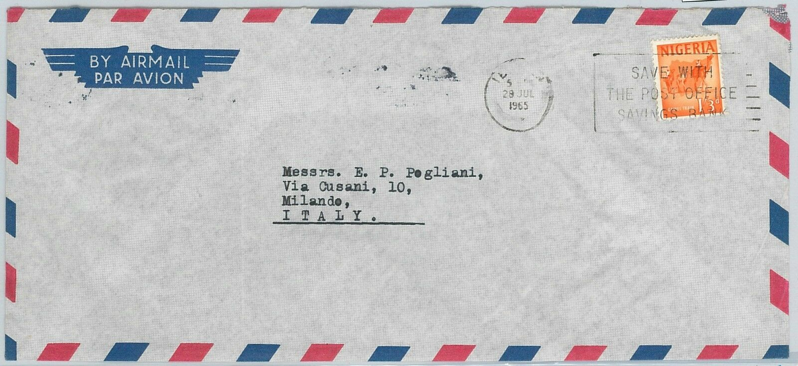 61396 - NIGERIA - POSTAL HISTORY - AIRMAIL COVER  to ITALY - 1965