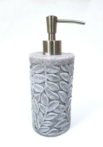 MIND ON DESIGN HEAVY 3D LEAF PATTERN  STONE COMP LOOK+SILVER PUMP SOAP DISPENSER