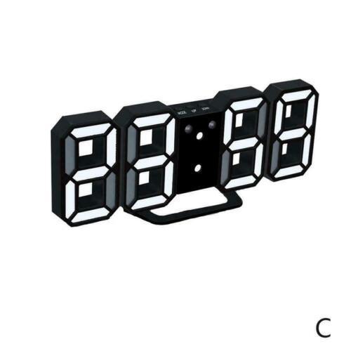 Modern Digital 3D White LED Wall Clock Alarm Clock CL Hour Displa 12//24 T8V7