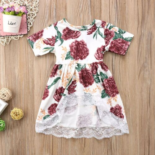 Newborn Kid Baby Girls Clothes Floral Lace Prom Party Tops T Shirts Tail Dresses