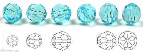 datant Aqua aigue-marine CZECH GLASS Machine à couper à Facettes Ronde Perles de cristal