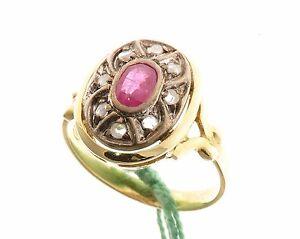 Anello-in-stile-antico-oro-18-kt-750-mill-Rubino-naturale-e-diamanti
