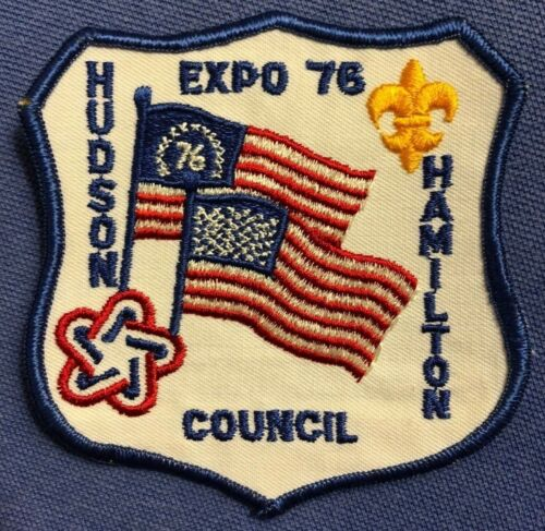 BICENTENNIAL Hudson Hamilton Council Scouts embroidered patch 1976 EXPO