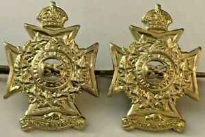 Les-Fusiliers-Mont-Royal-Canada-Military-Brass-Collar-Dog-Pair-with-King-039-s-Crown