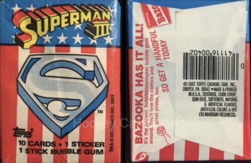 10 Cards 1983 Topps Superman III 3 Sealed Wax Hobby Trading Pack HCW Gum