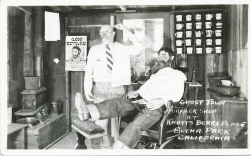 Buena Park CA Knott's Berry Place Ghost Town Barber Shop RPPC 1950s