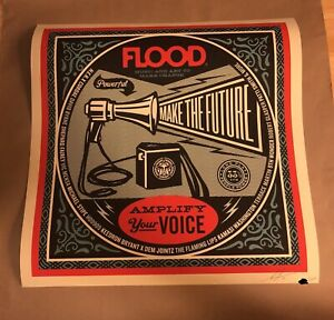 Signed SHEPARD FAIREY FLOOD Screen Print Art Poster S/N #/300 24x24 obey giant